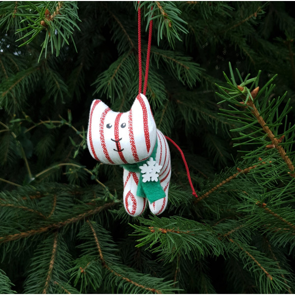 Christmas tree toy tiger in red and white stripe