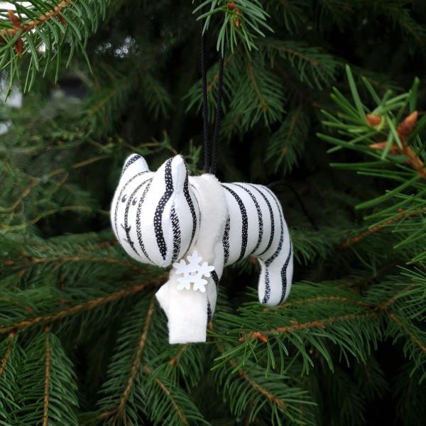 Іграшка ялинкова тигр в чорно-білу смужку