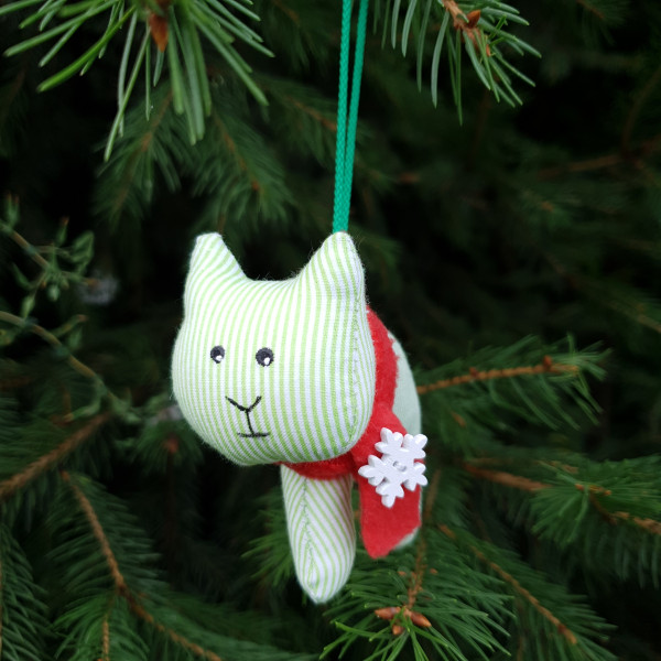 Christmas tree toy tiger in green and white stripe