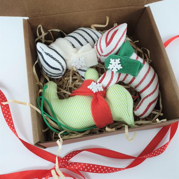 Set of three Christmas tree toys tigers