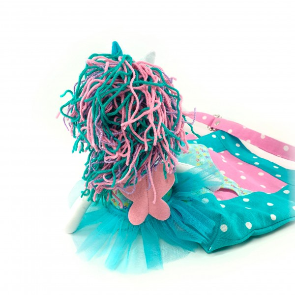 Handbag with unicorn turquoise 2