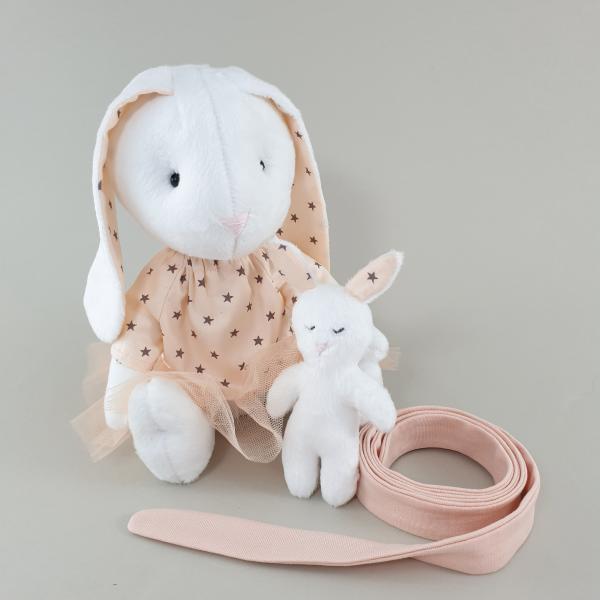 М'яка іграшка Мама Зайка з малюком персикова