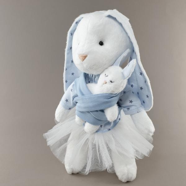 М'яка іграшка Мама Зайка з малюком блакитна