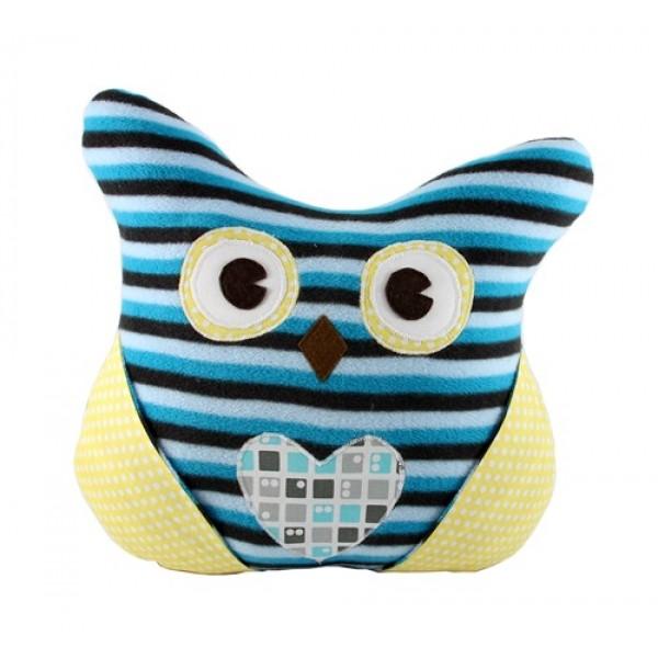 Сова-подушка флис полоска синя