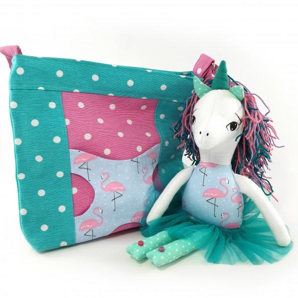 Handbag with unicorn turquoise 1